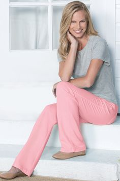 From everyday errands to tropical getaways.Lightweight Dormisoft Denim offers the same incomparable comfort as the rest of the PajamaJeans collection. Comfortable Outfits, Dressmaking, Denim Jeans, Pajamas, Jumpsuit, Knitting, Hibiscus, My Style, Womens Fashion