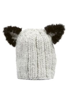 How cute is this soft, chunky hand-knit beanie that is topped with cute cat ears?