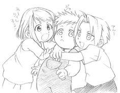 cute Winry, Al,  and Ed. Resembool trio