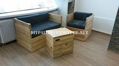 Armchair, sofa and table with pallets 1
