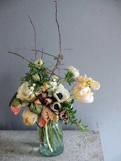 peach poppies, twigs, ranunculus