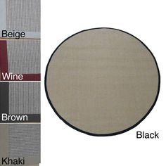 Woven Real Sisal Rug (6' Round) (Sisal Khaki), Brown, Size 6' (Jute, Border)