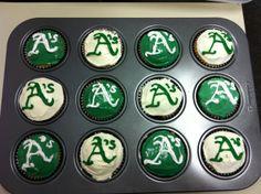 Oakland A's Baseball logo cupcakes green and white