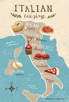 This summer we are planning a trip to Italy. I've always had this romantic notion of driving through Italy and stopping at tiny little towns along the way...enjoying all of the food and coffee that I can. I decided to prepare for my trip by creating a map which shows the cuisine of Italy by