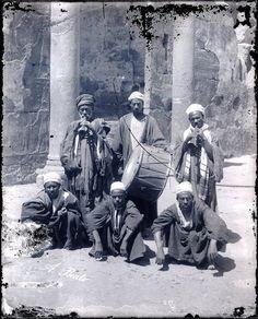 Antonio Beato Negative #19, ca 1864 - Musicians in Egypt
