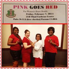 The Ladies of Zeta Phi Beta, Lambda Kappa Zeta Chapter. Hattiesburg, MS  support the Ladies of Alpha Kappa Alpha 2nd annual 'Pink goes Red' Event.