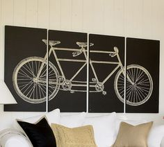"Cute idea for decor in a cyclists home.  Wedding present? Anniversary gift? I enjoy how the tandem bike is not only cute, but a symbol of ""we're in this together"" @Amy Boley"