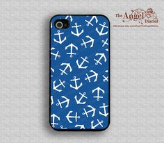 Navy blue and anchor iPhone 4 Case, iPhone 4s Case, iPhone 4 Hard Plastic Case, iPhone Case,Personalized iPhone Case. $7.99, via Etsy.