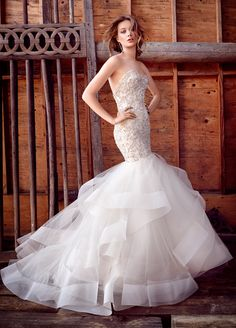 Champagne beaded and embroidered fit and flare tulle bridal gown, strapless sweetheart neckline, elongated bodice, wave skirt with horsehair accent, chapel train. Bridal Gowns, Wedding Dresses by Lazaro - JLM Couture - Bridal Style LZ3553 by JLM Couture, Inc.