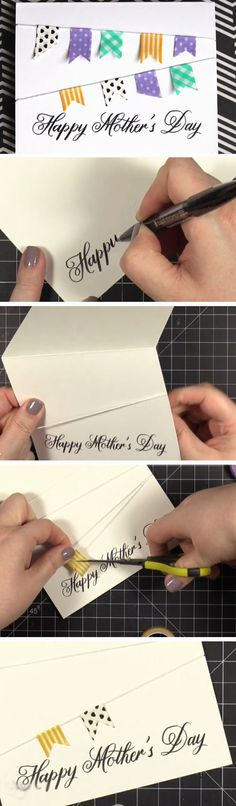 Colorful Bunting | DIY Mothers Day Card Ideas for Children | Easy Birthday Cards to Make for Mom