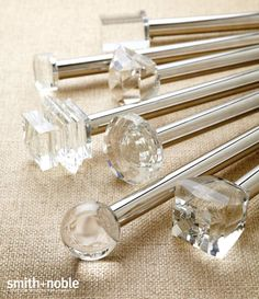 smith and noble crystal hardware Bay Window Curtains, Burlap Curtains, Drapes Curtains, Window Seats, Valances, Glass Curtain, Finials For Curtain Rods, Curtain Hardware, Window Hardware