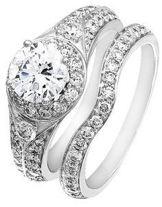 Diamond Wedding Ring Set, .89 Carat Diamonds on 14K White Gold