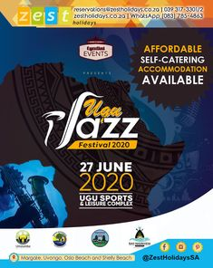 Book your accommodation for the Ugu Jazz Festival on Sat 27 June. Holiday Accommodation, Jazz Festival, Comedy Show, How To Make Notes, Holidays And Events, Catering, Traveling By Yourself, June, Make It Yourself