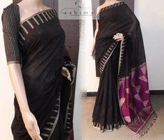 Code:1104171 - Chanderi Saree With Woven Border And Pallu, Price INR:3500/-