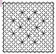 Voici le 2ème carré du damier, fond torchon et araignée .