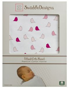 "Swaddle Designs ""Very Berry and Pink Little Chickies"" Fitted Flannel Crib Sheet"