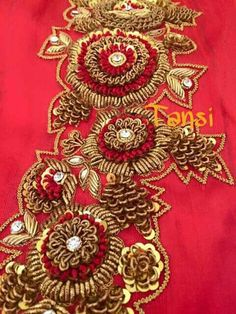 For details ping me 9895473878 Zardosi Embroidery, Hand Work Embroidery, Couture Embroidery, Embroidery Motifs, Indian Embroidery, Embroidery Fashion, Hand Embroidery Designs, Beaded Embroidery, Maggam Work Designs
