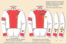 Primer Regimiento de Infantería Voluntarios de Madrid. Divisas Guia Premios Empire, Spain And Portugal, Napoleonic Wars, Troops, Spanish, Army, The Unit, Hats, Volunteers