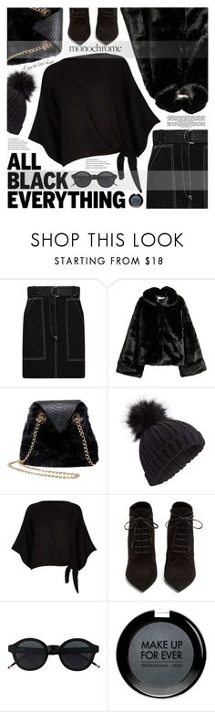 """Mission Monochrome: All-Black Outfit"" by katjuncica ❤ liked on Polyvore featuring Sandro, Betsey Johnson, Miss Selfridge, River Island, Yves Saint Laurent, MAKE UP FOR EVER and allblackoutfit"