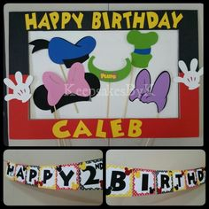 Mickey mouse photo booth props and birthday banner #cricut