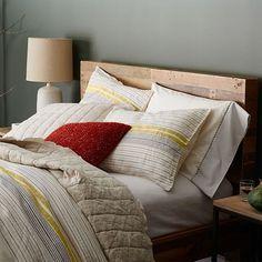 Belgian Flax Linen Motley Stripe Duvet Cover   Shams - Citrus Yellow #westelm