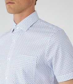 Mens Blue Check Short Sleeve Shirt - Reiss Stark