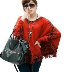 $21.98 - $21.99 nice Zehui Women V-neck Batwing Long-sleeved Shirts Cape Fringed Shawl Sweater Coat