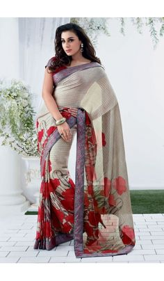 Grace yourself by draping in this Cream #chiffon #brasso printed #casual wear #saree with trendy and #elegant print on it. The saree is an ideal choice of attire for casual events and comes attached with matching blouse piece that can be custom made for upto bust size of 42 inches.