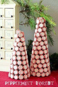 DIY Peppermint Cones http://www.unitednow.com/product/6113/styrofoam-shapes.aspx?item=14872 http://www.unitednow.com/product/6113/styrofoam-shapes.aspx?item=14873
