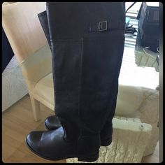 ✨BLACK LEATHER RIDING BOOTS✨ Worn only a few times. Still in great condition. Faux leather. Shoes Over the Knee Boots