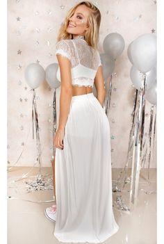 Conjunto Adhara Transparência Branco Fashion Closet - fashioncloset