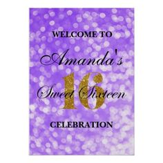 Purple Sweet 16 Gold Glitter Lights Welcome Poster - birthday gifts party celebration custom gift ideas diy