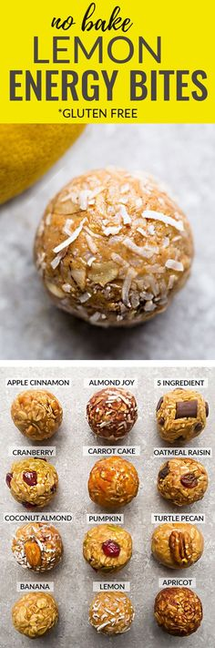 No Bake Lemon Energy Bites – the perfect easy, healthy & tasty gluten free snacks for on the go or after a workout! Healthy Sweets, Healthy Baking, Healthy Snacks, Healthy Recipes, Quick Snacks, Yummy Snacks, Yummy Treats, Protein Muffins, Gluten Free Snacks