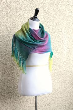 Hand woven long scarf in gradient colors - green, yellow and fuchsia with fringe