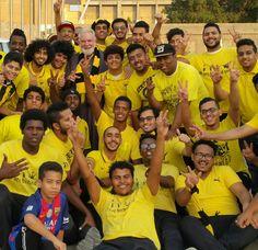 Sam with Ittihad basketball fans in Jeddah, Saudi Arabia!