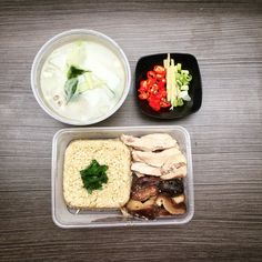 Hainanese Chicken Rice - Radish soup & steamed chicken & mushroom. Ingredients: Chicken, mushroom, ginger, scallions, sesame oil, garlic, olive oil, radish, chilies, soy sauce, pepper.