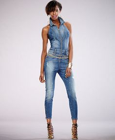 GUESS Sleeveless Denim Jumpsuit | Cher got Game | Pinterest ...