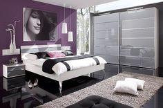 Chambre à Coucher Contemporaine Mailleux   Lit Sur Pieds, Grand Dressing  Sol Noir Laqué,
