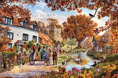village in Autumn pieces)Image copyright: Steve Crisp Best Jigsaw, English Village, Canvas Art, Canvas Prints, Cottage Art, Puzzle Art, The Good Old Days, Country Life, Painting Inspiration