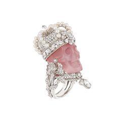 Anel Reine de Quartzie em platina, diamantes, quartzo rosa e pérolas finas, Dior Joaillerie.
