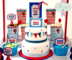 More goodies in the boys sweet shop. www.thesweettreatco.com Dublin, Ireland. Birthday Party Themes, Birthday Cake, Two Tier Cake, Ice Cream Cookies, Ice Cream Party, Food Labels, Party Signs, Candy Shop, Tiered Cakes