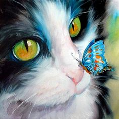 A butterfly on a kitten's nose oil painting,black and white cat oil painting,cat art,original oil painting,hand painted by Ape Art Studio Cross Paintings, Animal Paintings, Animal Drawings, Drawing Animals, Cat Drawing, Drawing Board, Diy Painting, China Painting, Cat Art