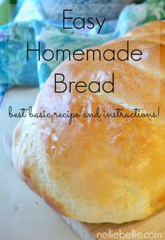This simple and easy homemade bread uses only a few ingredients just like the old-fashioned homemade bread like Grandma made. I've included tips for making homemade bread for those of you, like me, that didn't grow up learning to make it. Bread Recipes, Cooking Recipes, Grandma's Bread Recipe, Homemade White Bread, Homemade Breads, Good Food, Yummy Food, Le Diner, Bread And Pastries