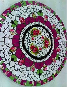 Mosaic table with roses