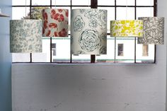handprinted and handmade hanging lampshades. #design