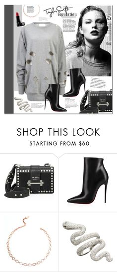 """""""Taylor Swift - Reputation"""" by mery90 ❤ liked on Polyvore featuring Prada, Christian Louboutin, Luv Aj, GetTheLook and taylorswift"""