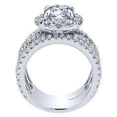 18k White Gold Diamond Halo Engagement Ring | Gabriel & Co NY | ER11997R6W83JJ