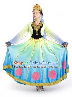 Chinese Competition Stage Xinjiang Dance Costumes Female Dance Costumes Folk Dances Ethnic Dance Fan Dance Dancing Dancewear for Women