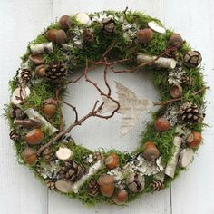 Door wreath on the basis of a straw wreath, diameter about 30 cm. tightly decorated - Diy Fall Decor - Informationen zu Door wreath on the b. Xmas Wreaths, Door Wreaths, Nature Decor, Nature Crafts, Autumn Decorating, Fall Decor, Grave Decorations, Straw Wreath, Christmas Crafts