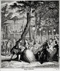 "Early American Commercial Pleasure Gardens & Public Grounds: Public Pleasure Gardens ""Over There"" - Vauxhall print; book-illustration; Georg..."